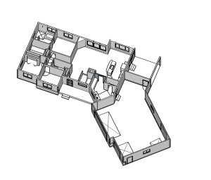 sketchup 3d house p[lan with the rrof off