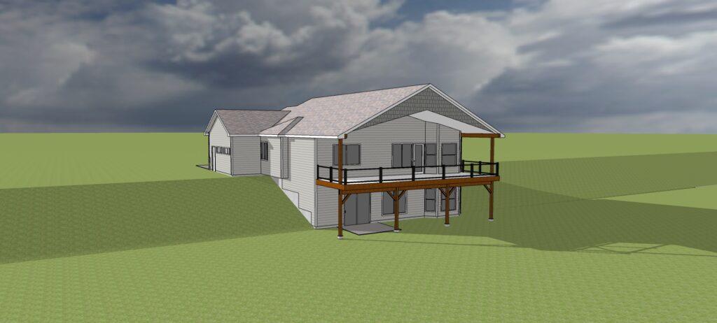 The Lewiston Floor Plan Rear View